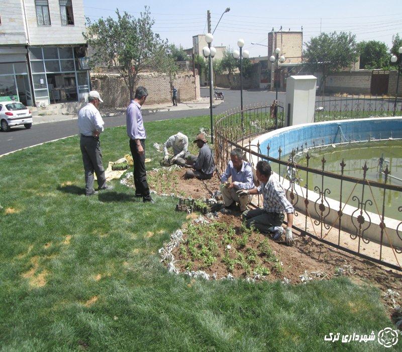چمن کاری و گل کاری ادامه بلوار امام +تصاویر